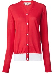 Marni Color Block Cardigan Red