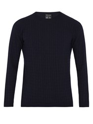 Giorgio Armani Square Knit Wool Blend Sweater Navy