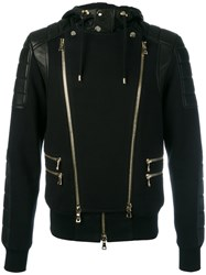 Balmain Biker Zip Up Hoodie Black