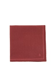 Dunhill Polka Dot Print Silk Pocket Square Burgundy