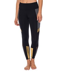 Betsey Johnson Colorblock Paneled Leggings Gold