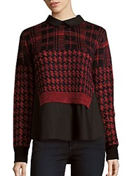 French Connection Wool Blend Long Sleeve Top Black Multi