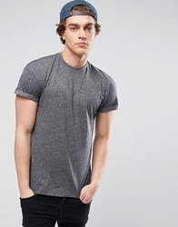 New Look T Shirt With Roll Sleeve In Grey Grey Pattern