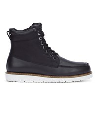 Armani Jeans Black Dual Material Canvas And Leather Boots