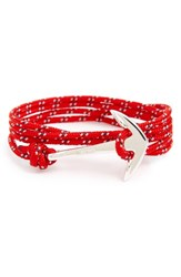 Miansai Men's Silver Anchor Rope Wrap Bracelet Crimson