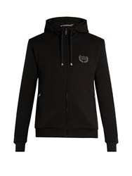 Dolce And Gabbana Badge Applique Cotton Jersey Hooded Sweatshirt Black