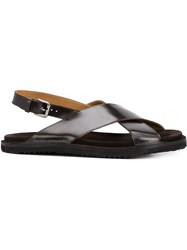 Umit Benan Cross Strap Sandals Brown