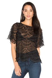 7 For All Mankind Short Sleeve Lace Top Black