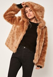 Missguided Nude Hooded Faux Fur Coat
