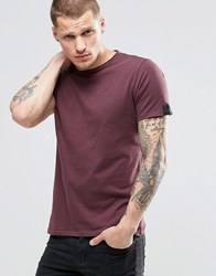 Replay T Shirt With Raw Edge In Burgundy Burgundy Red