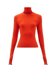 Barrie Rolling Edge Roll Neck Cashmere Sweater Red Multi