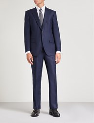 Gieves And Hawkes Tailored Fit Wool Flannel Suit Navy