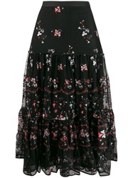 Tory Burch Embroidered Floral Print Ruffled Skirt 60