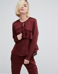 First And I Ruffle Front Blouse Wine Purple