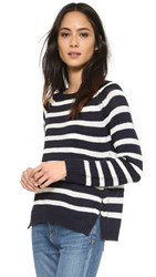 Cupcakes And Cashmere Elba Striped Sweater With Zipper Detail Ink