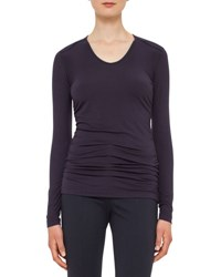 Akris Punto Long Sleeve Lightweight Jersey Top Deep Blue
