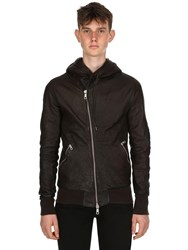 Giorgio Brato Hooded Washed Nappa Leather Jacket Brown