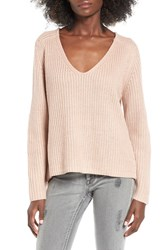 Leith Women's V Neck Sweater Pink Night