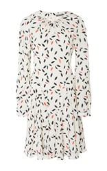 Zac Posen Feather Print Slit Sleeve Dress White