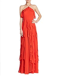 Kay Unger Ruffled Halter Gown Tomato