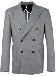 Lc23 Glen Plaid Double Breasted Blazer Grey