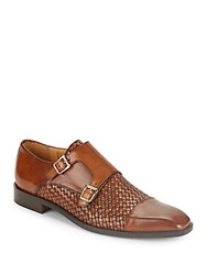 Saks Fifth Avenue Woven Leather Monk Strap Shoes Tan