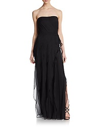 Pamella Roland Silk Chiffon Tiered Gown Black