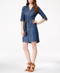 Inc International Concepts Petite Belted Indigo Wash Denim Shirtdress Only At Macy's