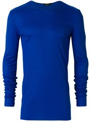 Unconditional Ribbed Crew Neck Top Blue
