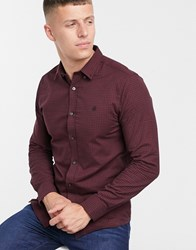 Burton Menswear Long Sleeve Gingham Shirt In Burgundy Red