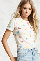 Forever 21 Gummie Print Graphic Tee White Orange