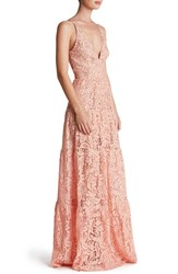 Women's Dress The Population Lace Fit And Flare Gown Rose Petal