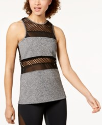 Material Girl Juniors' Mesh Tank Top Heather Grey