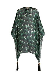 Adriana Degreas Ginkgo Print V Neck Silk Kaftan Green Multi