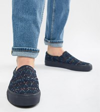 Asos Design Wide Fit Slip On Plimsolls In Denim With Embroidery Blue