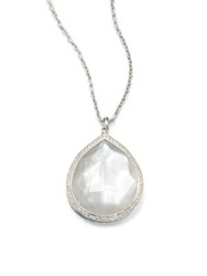 Ippolita Stella Mother Of Pearl Clear Quartz Diamond And Sterling Silver Large Teardrop Doublet Pendant N Silver White