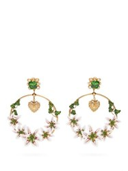 Dolce And Gabbana Lily Crystal Hoop Clip Earrings Gold