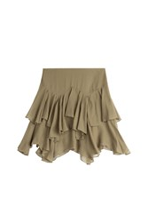 Polo Ralph Lauren Tiered Cotton Silk Ruffle Skirt Green