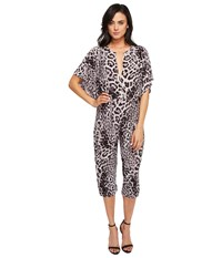 Norma Kamali Rectangle Jog Jumpsuit Grey Leopard Women's Jumpsuit And Rompers One Piece Animal Print