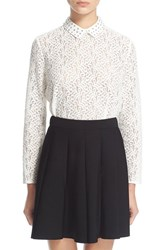 Women's The Kooples Studded Collar Lace Shirt