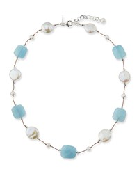 Margo Morrison Aquamarine Pearl And Crystal Station Necklace Blue White