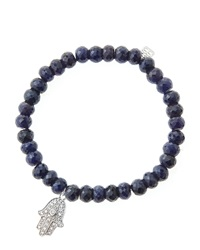 Sydney Evan 6Mm Faceted Sapphire Beaded Bracelet With 14K White Gold Diamond Medium Hamsa Charm Made To Order