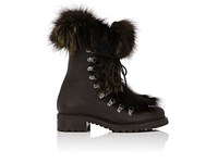 Barneys New York Women's Fur Trimmed Leather Ankle Boots Dark Brown