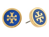 Tory Burch Lacquered Logo Studs Earrings Jewel Blue Tory Gold