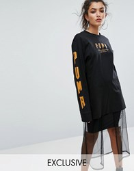 Puma Exclusive To Asos Statement Oversized Long Sleeve T Shirt Black Goldenoak