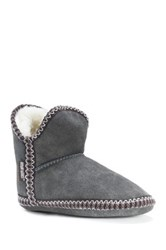 Muk Luks Amira Suede Faux Fur Lined Slipper Boot Gray