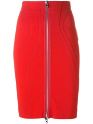 Givenchy Zip Fitted Skirt Red