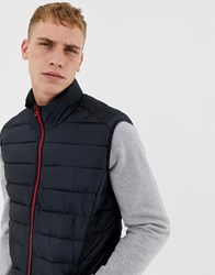 Only And Sons Quilted Gilet Dark Navy W Red