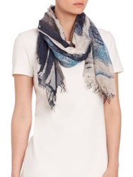 Peserico Abstract Print Scarf Navy Multi