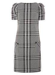 Dorothy Perkins Tall Grey And Ivory Check Puff Sleeve Shift Dress